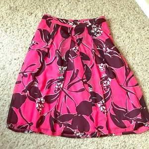 Pink and purple floral A-line skirt